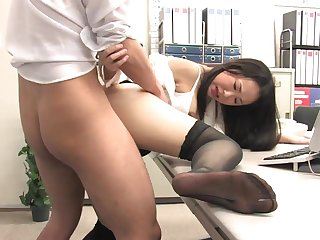 Assistant's fur masked fuckbox secreting out with jism after office penetrate