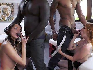 Swart friends enticed three pretty sluts into nasty coition