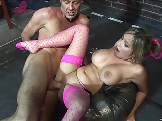 Blonde porn star in fishnet stockings Romana Ryder rides a enduring cock