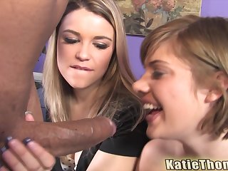 Haileey James together with Katie Thomas swallow cum in an interracial foursome