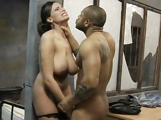 Big-dicked black prisoner fucks a kinky waxen lawyer