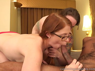 Hot Redhead and Her Tighten one's belt Share a Big Black Cock