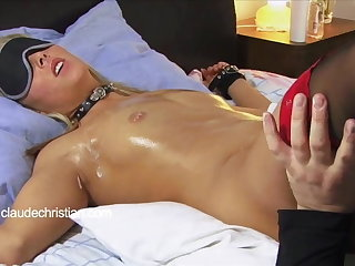 Tied blonde with dripping wet pussy licked round orgasm