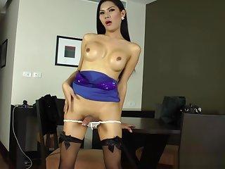 Ladyboy amateur tugging her hard cock