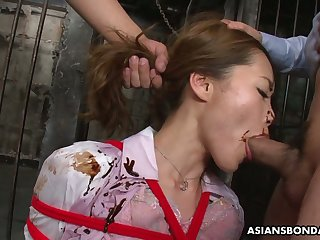 Gagged Asian cash-drawer Yui Tachiki gets tied up and masturbated hard a bit