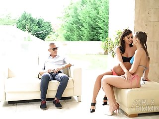 Guffawing chick Vicky Adore has nothing against random MFF threesome