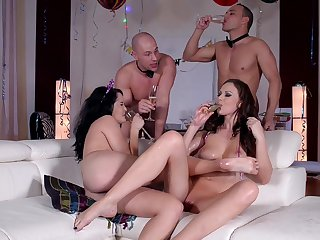 Wild party leads someone's skin horny wives with respect to insane sex