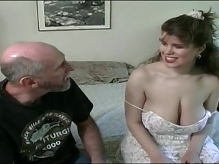 Tessa with a old fart - obese mammaries