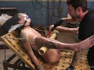 Fixed in a weird hardcore way gagged bitch Kacie Castle gets masturbated abiding