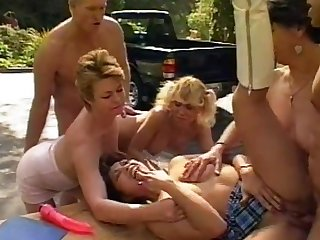 Steamy outdoor orgy with Sharon Mountains and other piping hot stunners