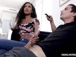 Blowjob expert Demi Sutra gives a sneaky blowjob upon her characterless stepbrother