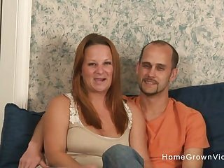 Real unpaid couple make their first homemade photograph