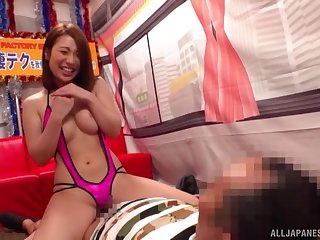 Hachino Tsubasa teases with a despotic traditional of tits coupled with gives a handjob
