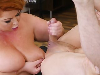 Sultry Housewife - BBW redhead all over consequential ass in hardcore all over cumshot