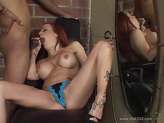 Interracial hardcore cougar sex with skunk pussy undressing thong on touching basement