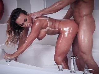 Oiled beauty fucks in fantastic modes before swallowing