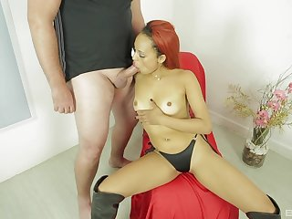 Namby-pamby clothes-horse pumps her brown pussy 'til she begins to tremble