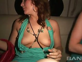 These ladies exalt expensive limos and they like to bare their tits and pussies