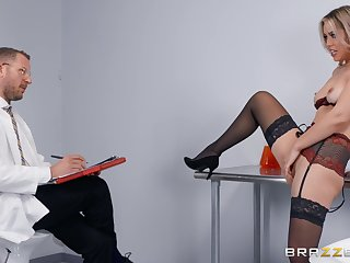 Doctor uses blonde's pussy and ass for own sexual awe