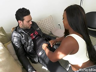 Chubby ebony chick Jayden Starr is fucked hard by white cocksure clothes-horse
