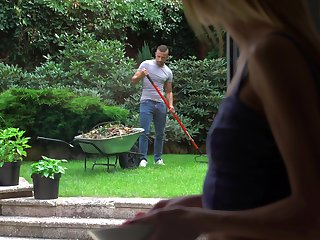 Spying on her sexy gardener leads to some steamy mating