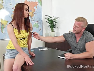 Mischievous coed bangs her geography teacher on top of his dresser