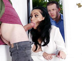 Lustful neighbors fucked hard busty wife