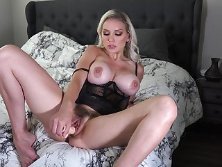 Sweet blonde wife Kenzie Taylor pleasures her cravings with a dildo