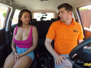 Busty wife goes acting mode on the driving instructor's over-nice dong