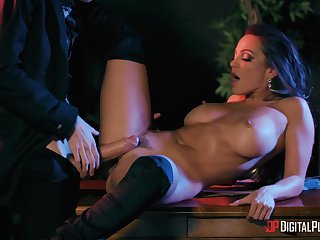 Inches of hard wood slamming her trimmed pussy, absolute magic