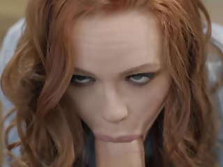 Dirty redhead fucks with one of her dad's employees